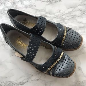 Rieker antistress steel blue Perforated Shoe